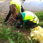 Estas voluntarias estan luchando con todas sus fuerzas para poder sacar un plástico que esta muy bien enterrado. Vamos que lo conseguis!!