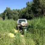 Y después, debido a lo irregular del terreno, tuvimos que echar mano de nuestro Land Rover